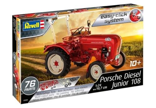 REVELL 07820 Modellbausatz Traktor Porsche Junior 108 easy-click 1:24, ab 10 Jahre