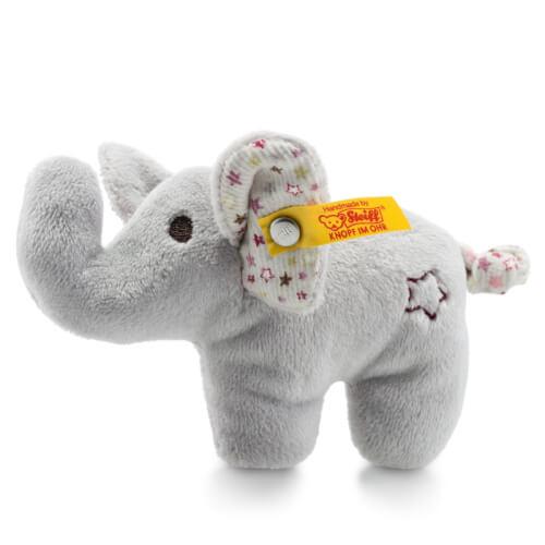 Steiff Mini Rassel-Knister Elefant, grau, 11 cm