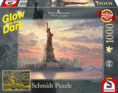 Schmidt Spiele Puzzle Thomas Kinkade Freiheitsstatue in der Abenddämmerung, 1000 Teile, Glow in the Dark