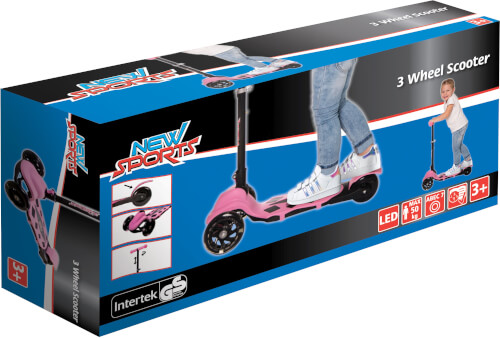 New Sports 3-Wheel Scooter Rosa, klappbar, 110 mm