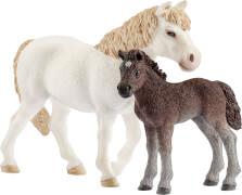 Schleich Farm World Pferde - 42423 Dartmoor-Pony Stute und Fohlen, ab 3 Jahre