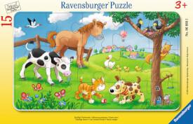 Ravensburger 06066 Rahmenpuzzle Knuffige Tierfreunde 15 Teile