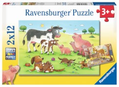 Ravensburger 07590 Puzzzle Glückliche Tierfamilie 2 x 12 Teile