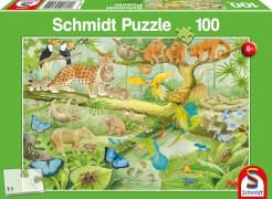 Schmidt Puzzle 56250 Tiere im Regenwald, 100 Teile, ab 6 Jahre